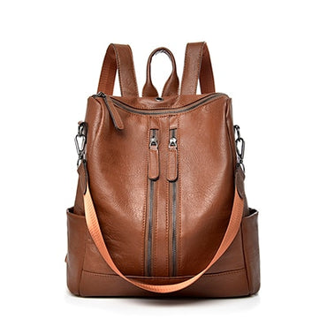 Leather Women Casual School Backpack