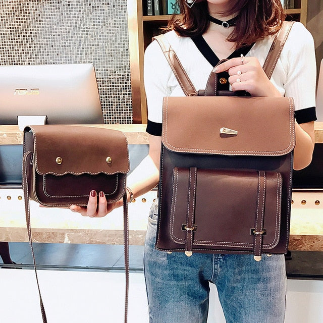 Leather Women Two sets Shoulder Bags Backpack