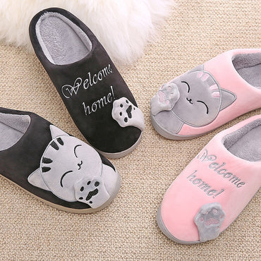 Cartoon Cat Shoes Soft Winter Warm House Slippers
