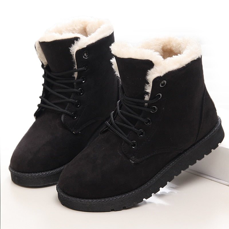 Winter Warm Faux Suede Ankle Snow Boots