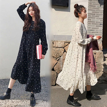 European Style Print Dot Linen Dress