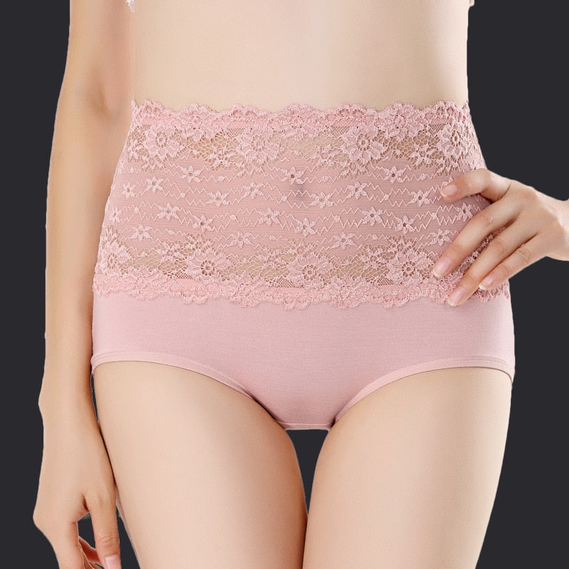 High Waist Body Shaper Briefs Panties Lace Flower Crochet Women's Panties