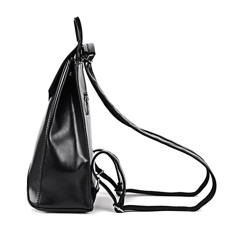 Leather Women School Shoulder Bag Bagpack