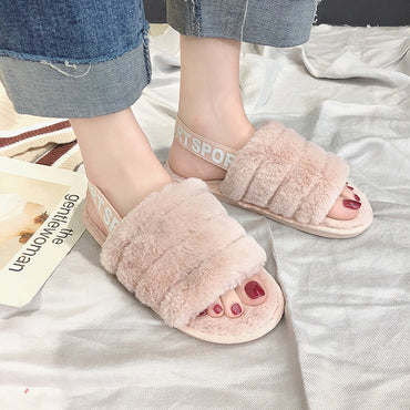 Winter Warm Faux Fur Home Slippers