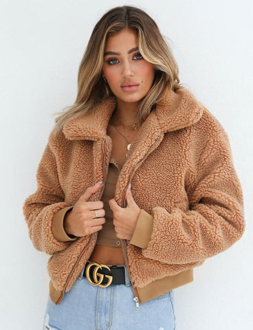 Long Sleeve Cotton Fluffy Winter Jacket