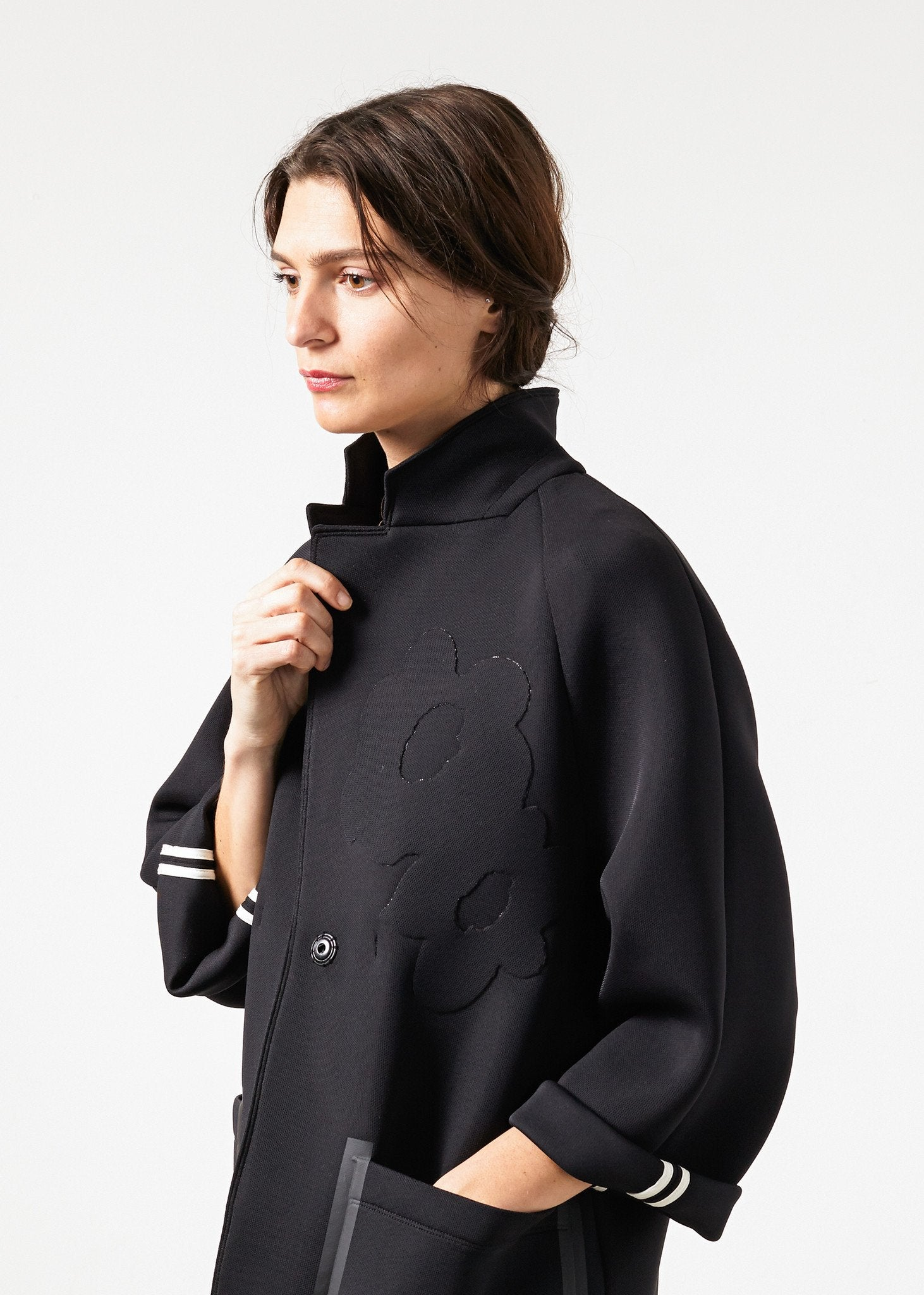 Neoprene Flower Coat in Black