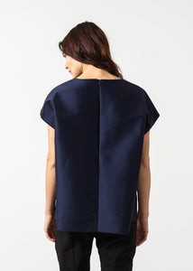 Tucked Sleeve Blouse in Navy