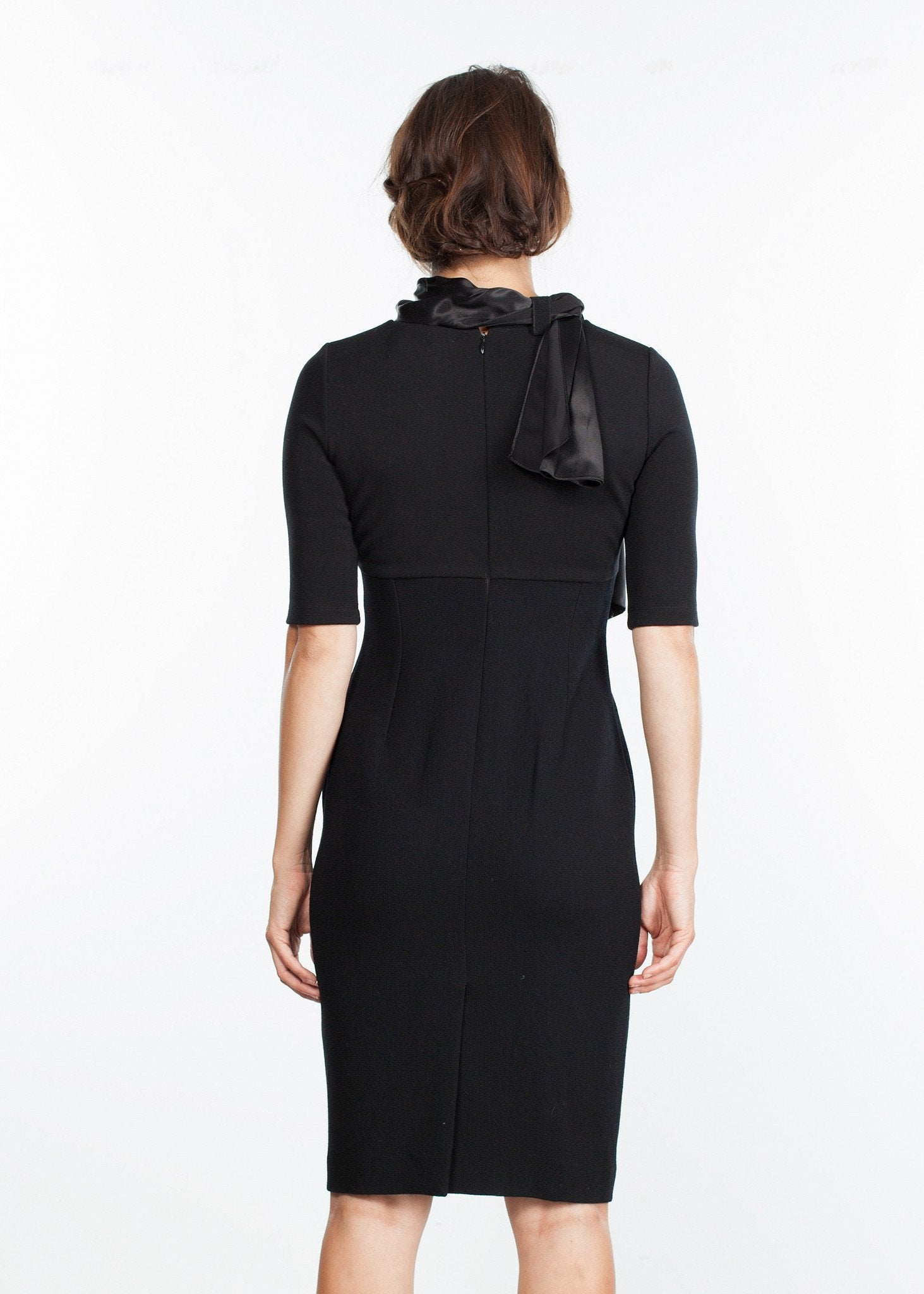Tie Neck Wool Dress in Black