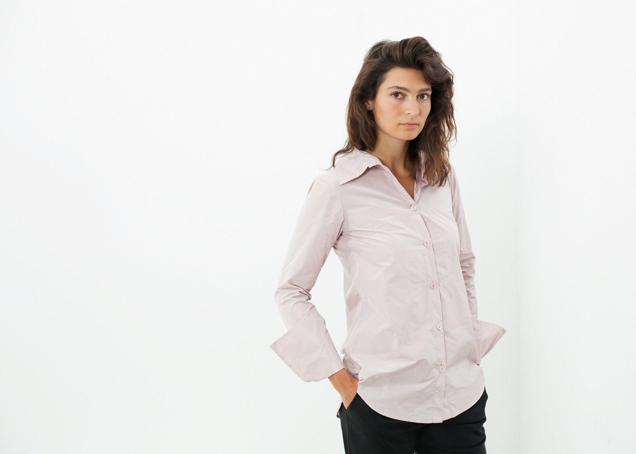Pointed Collar Blouse in Rose