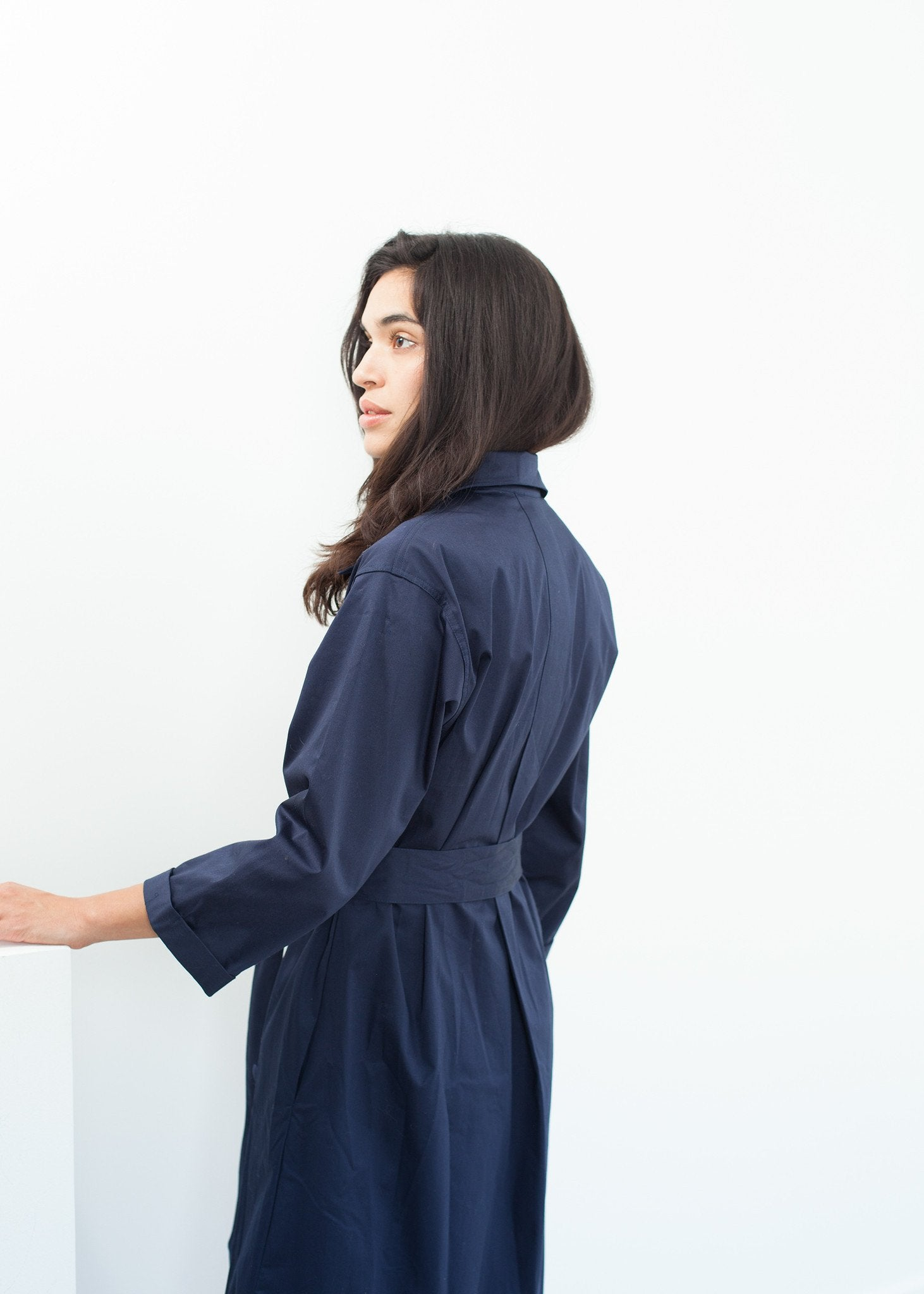 Sateen Trench in Navy