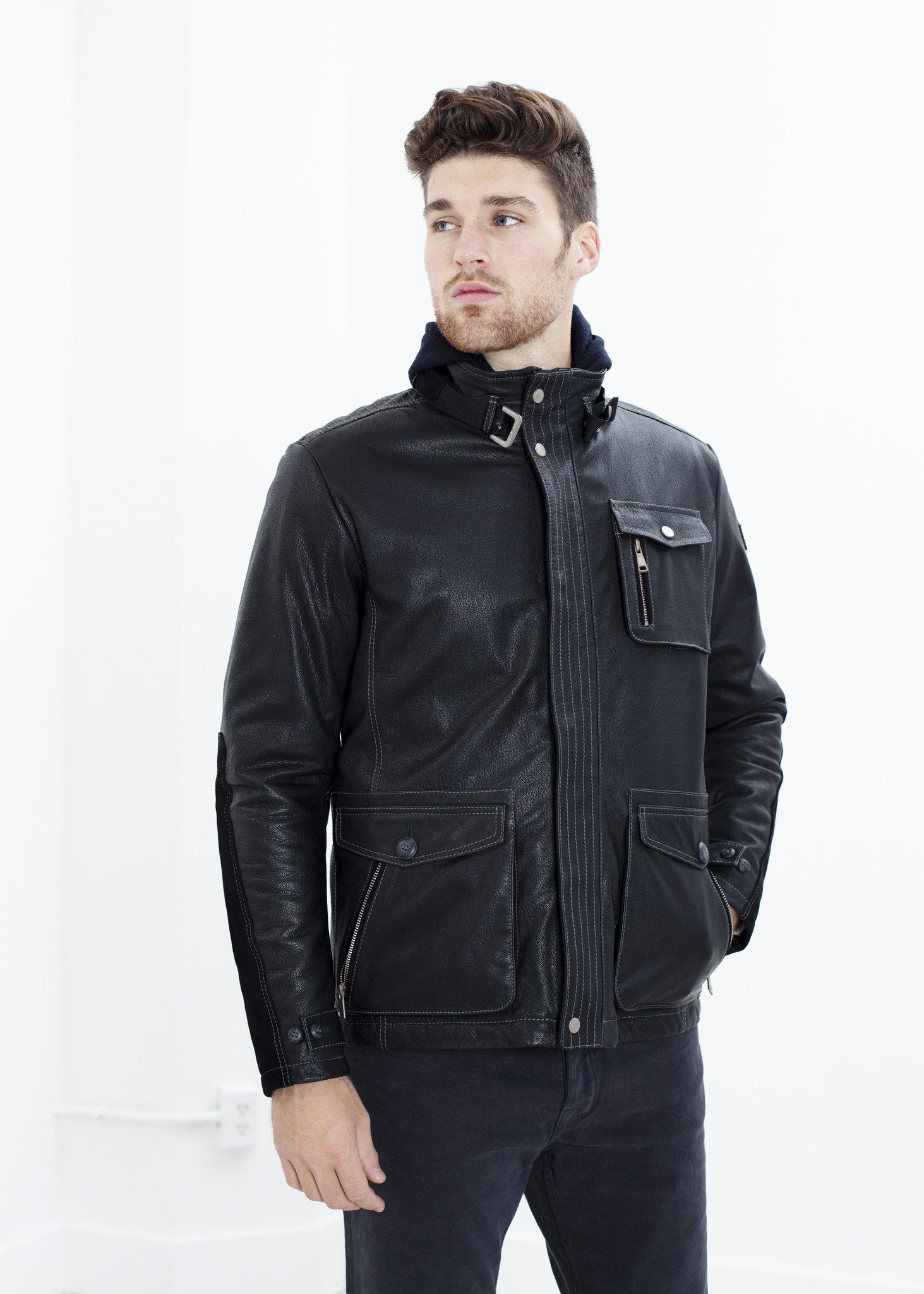 Prince Leather Field Jacket in Meteor