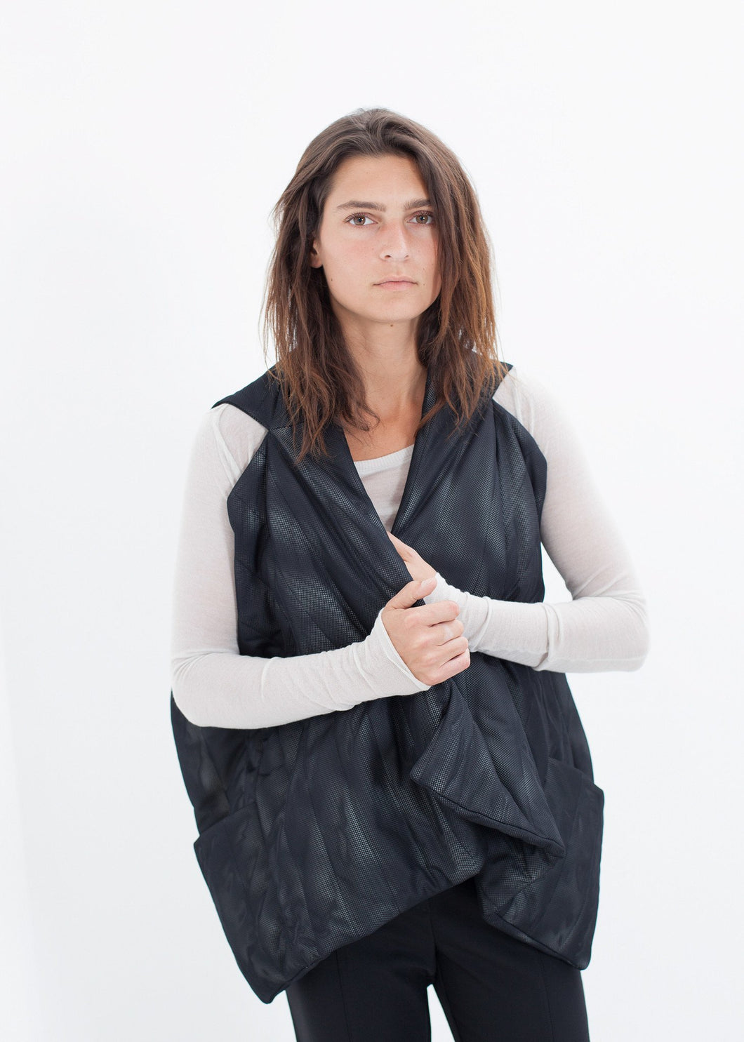 Quilted Mesh Waistcoat in Black/White