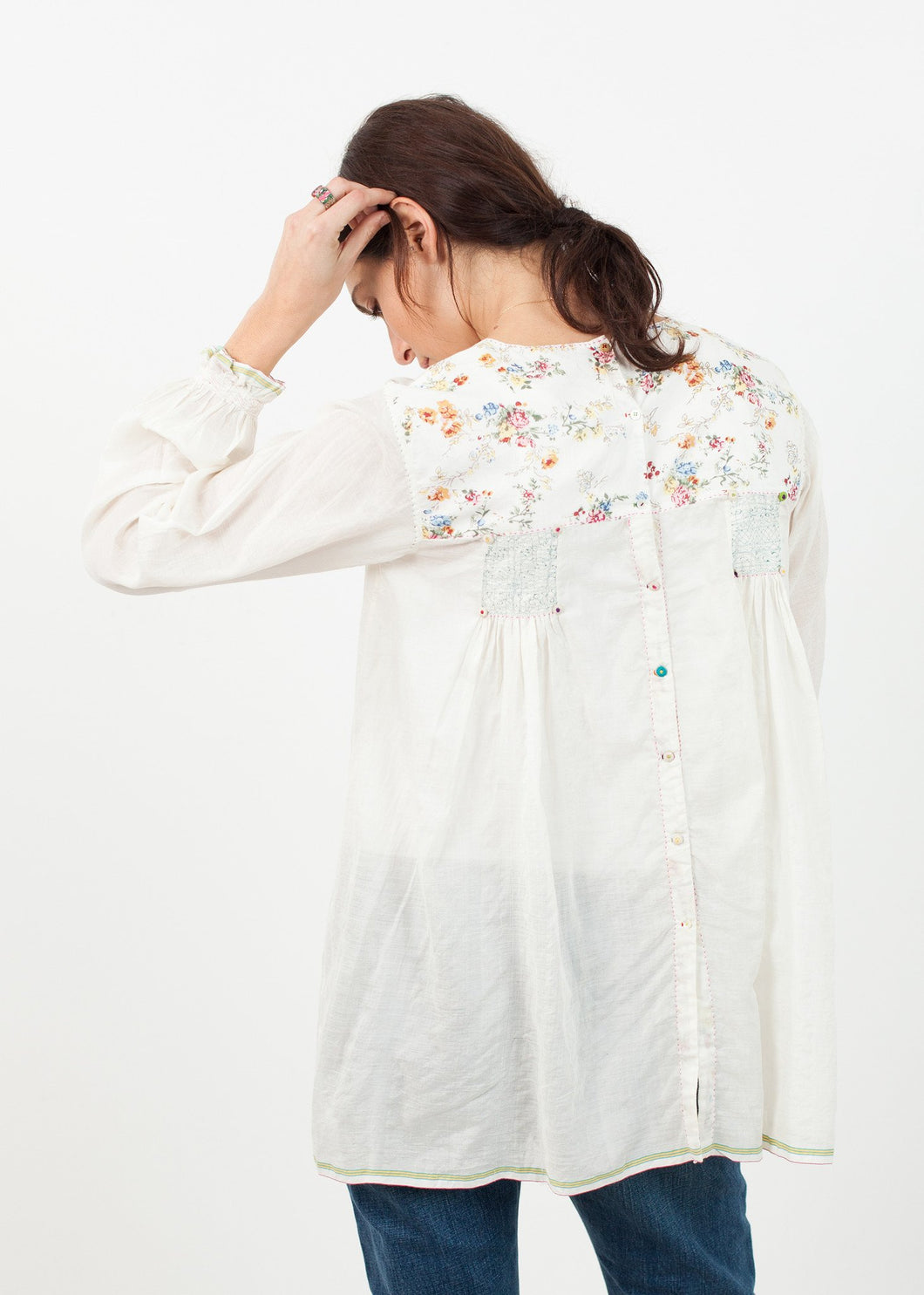 Floral Front Peasant Blouse in White