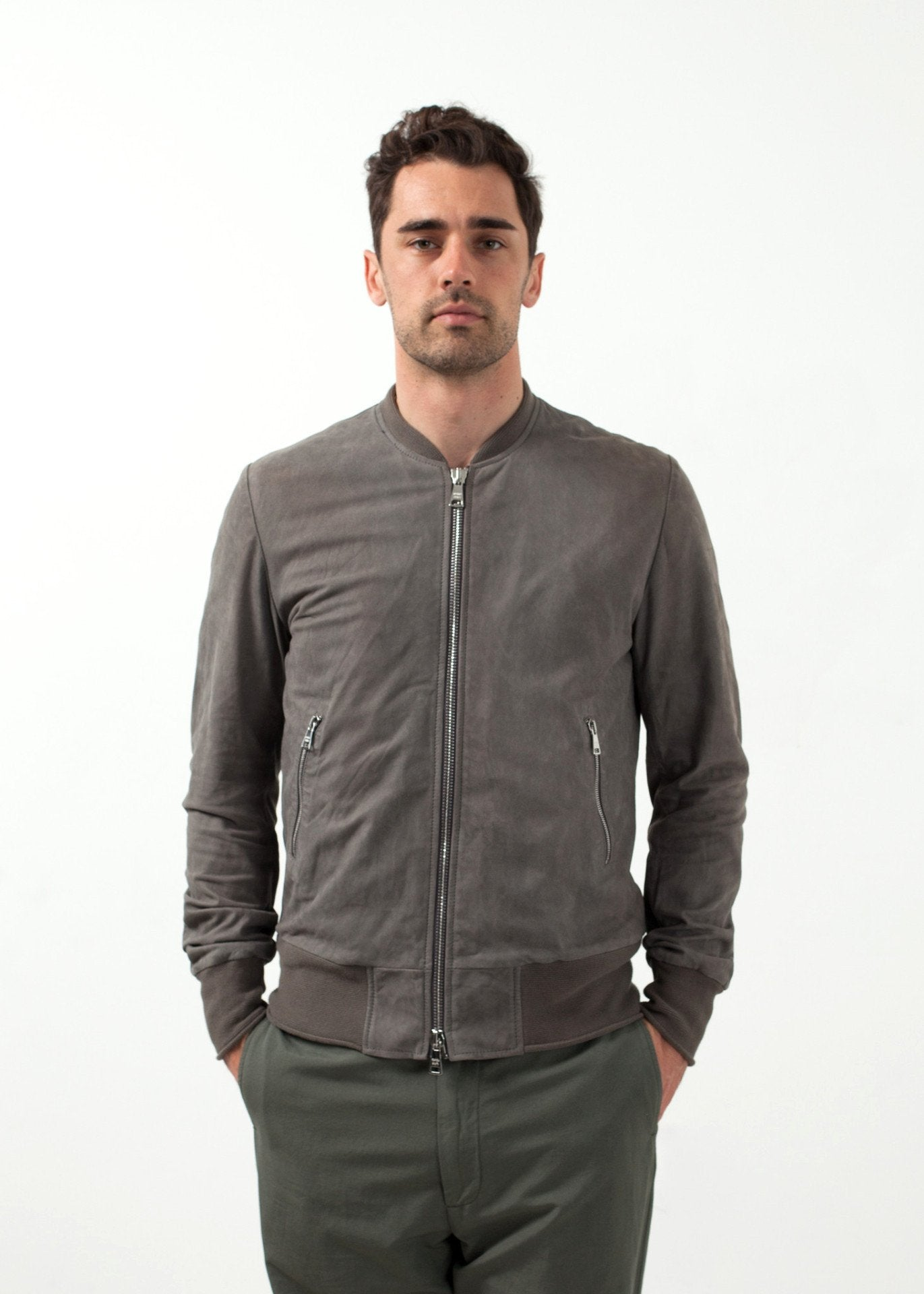Leather Bomber Jacket in Dust