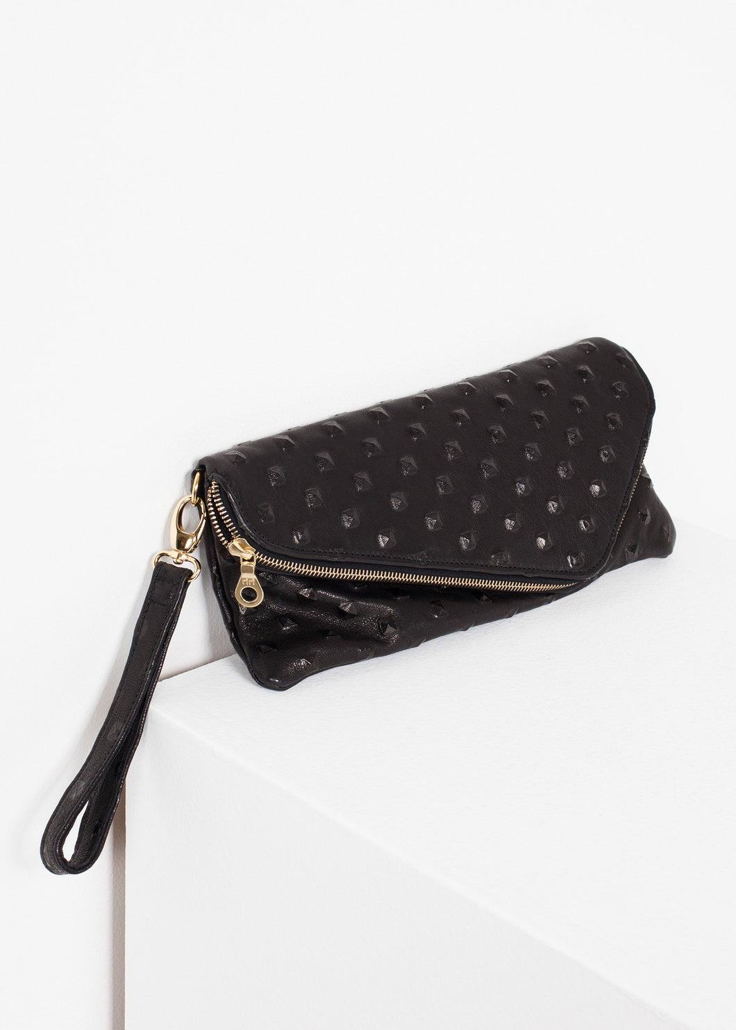 Roxanne Leather Clutch in Black