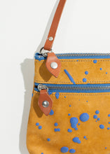 Load image into Gallery viewer, Ink Splatter Shoulder Bag in Mustard/Blue