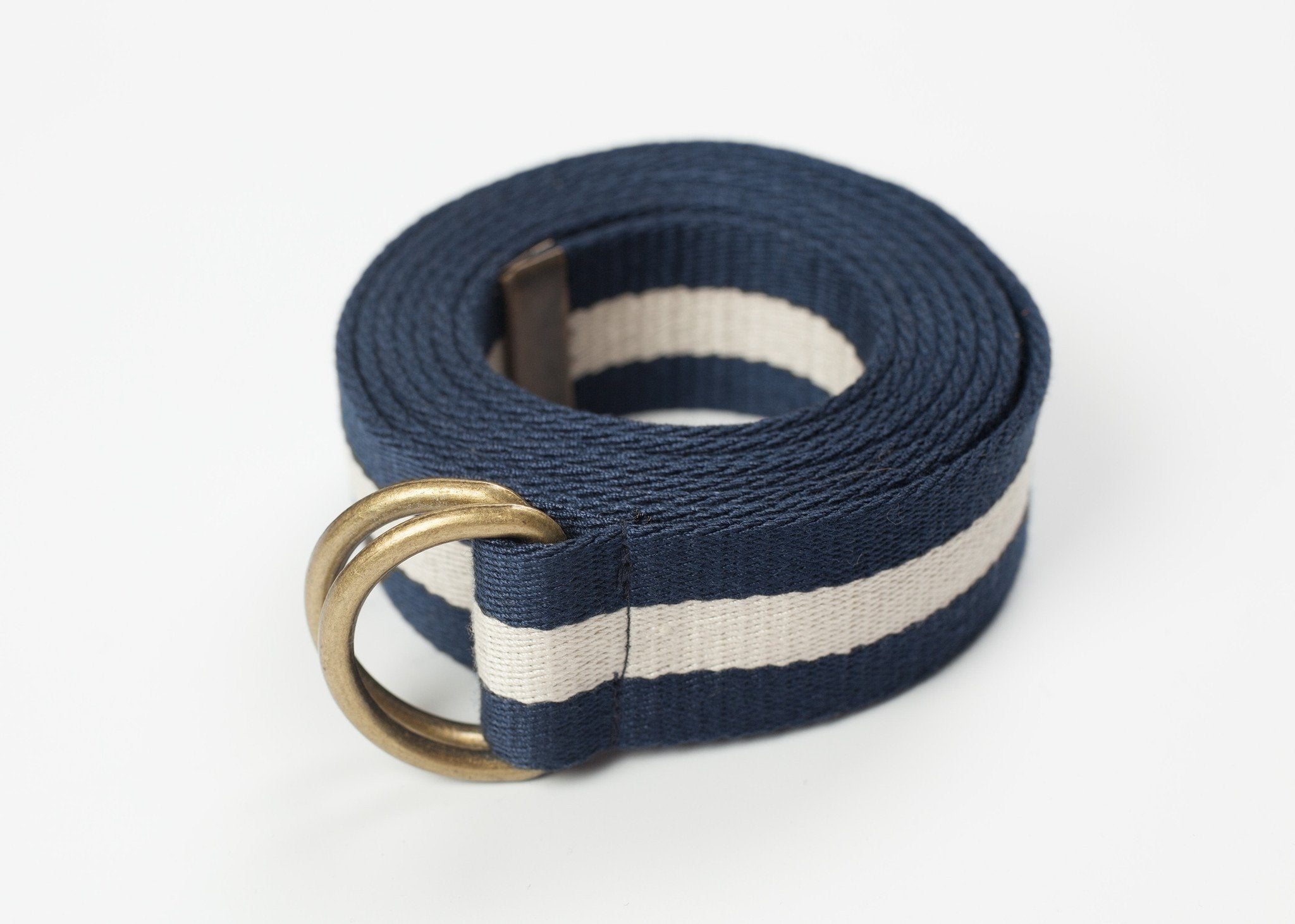Striped Web Belt in Navy/White