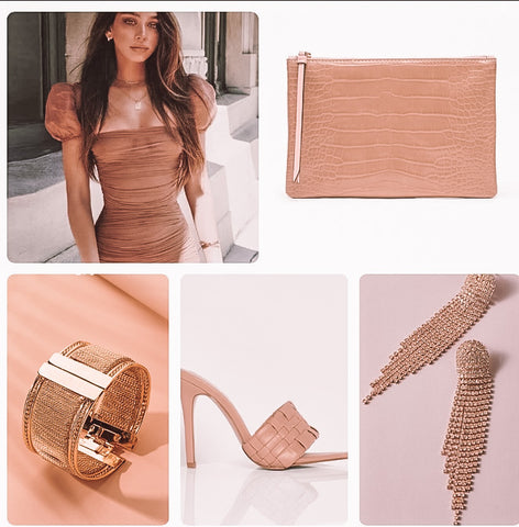 iF YOU PLEASE PUFF SLEEVE DRESS NUDE