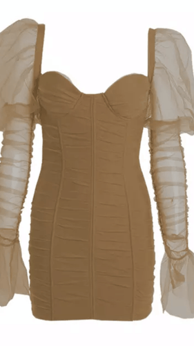 I'm A Catch Flared Sleeve Dress Nude -  Dollhouse-Collection