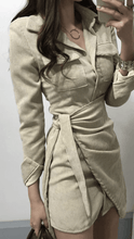 Load image into Gallery viewer, Camelia Corduroy Shirt Dress Beige -  Dollhouse-Collection