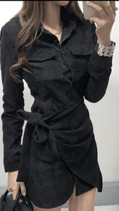 Camelia Cordury Shirt Dress Black -  Dollhouse-Collection