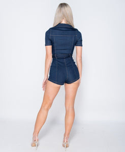 Dark Blue Zip Front Short Sleeve Stretch Denim Playsuit -  Dollhouse-Collection