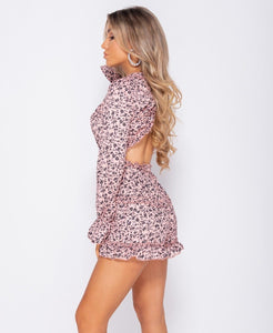 Ditsy Floral Frill Detail Open Back Playsuit -  Dollhouse-Collection