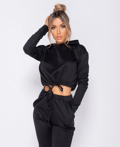 Drawstring Detail Cropped Hoodie & Jogging Trousers Set -  Dollhouse-Collection