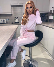 Load image into Gallery viewer, Drawstring Detail Cropped Hoodie & Jogging Trousers Set Pink -  Dollhouse-Collection