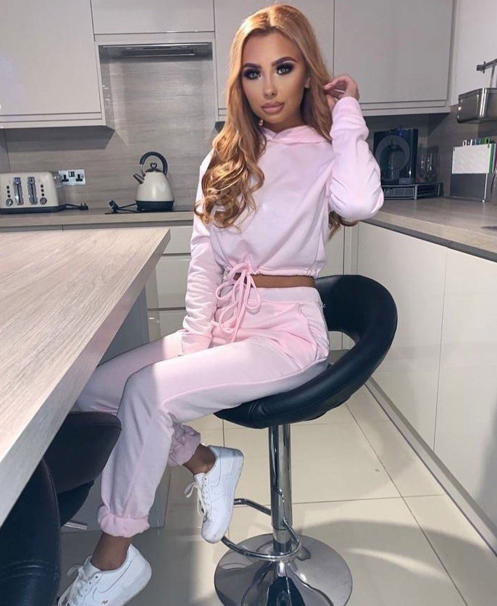 Drawstring Detail Cropped Hoodie & Jogging Trousers Set Pink -  Dollhouse-Collection