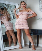 Load image into Gallery viewer, Floral Frill Hem Bardot Mini Dress -  Dollhouse-Collection