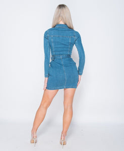 Light Blue Denim Western Buckle Detail Button Up Bodycon Shirt Dress -  Dollhouse-Collection