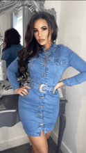 Load image into Gallery viewer, Light Blue Denim Western Buckle Detail Button Up Bodycon Shirt Dress -  Dollhouse-Collection