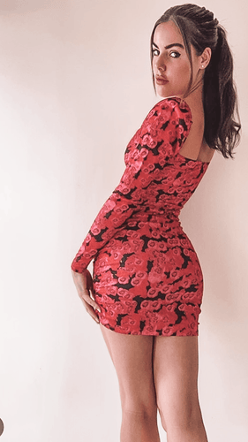 Mia Floral Ruched Bodycon Dress -  Dollhouse-Collection
