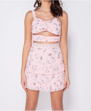 Load image into Gallery viewer, Pink Floral Ruched Frill Co Ord Skirt Set -  Dollhouse-Collection