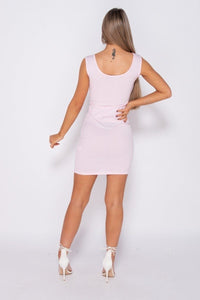 Pink Rib Knit Scoop Neck Bodycon Mini Dress -  Dollhouse-Collection