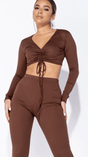 Load image into Gallery viewer, Rib knit tie front lounge set brown -  Dollhouse-Collection