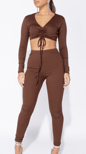 Rib knit tie front lounge set brown -  Dollhouse-Collection