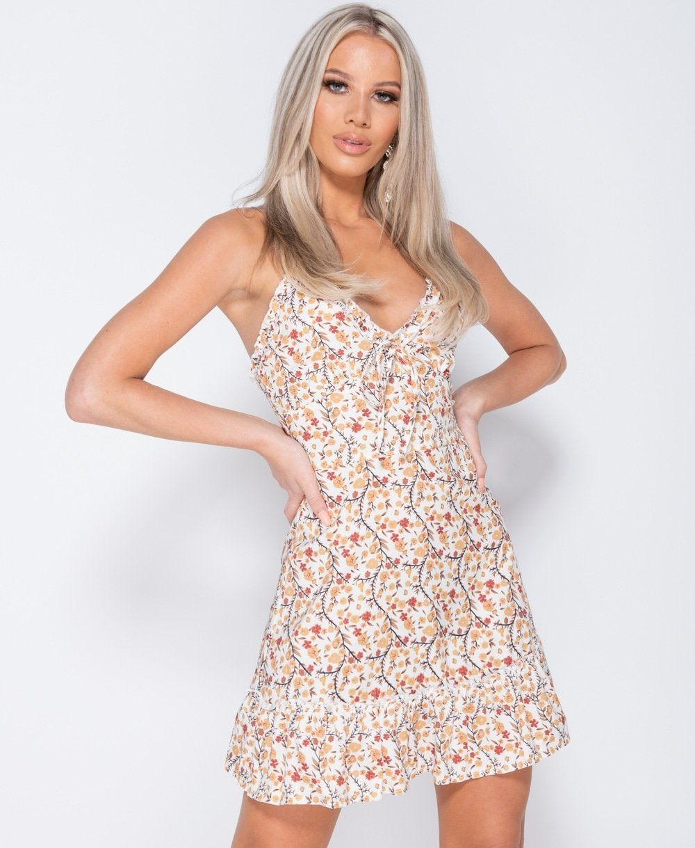 Spaghetti Strap Ditsy Floral Tie Front Mini Dress -  Dollhouse-Collection