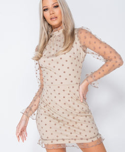 Stone Polka Dot Sheer High Neck Frill Trim Dress -  Dollhouse-Collection