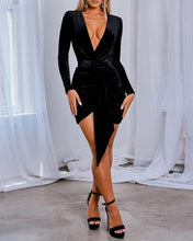 Load image into Gallery viewer, Victoria Plunge Tied  Velvet Dress -  Dollhouse-Collection