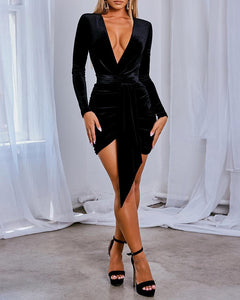Victoria Plunge Tied  Velvet Dress -  Dollhouse-Collection