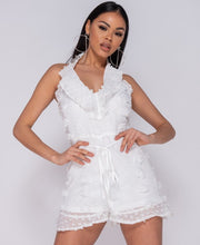 Load image into Gallery viewer, White Dobby Frill Detail Halter Neck Playsuit -  Dollhouse-Collection