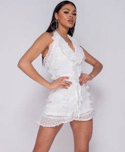 White Dobby Frill Detail Halter Neck Playsuit -  Dollhouse-Collection