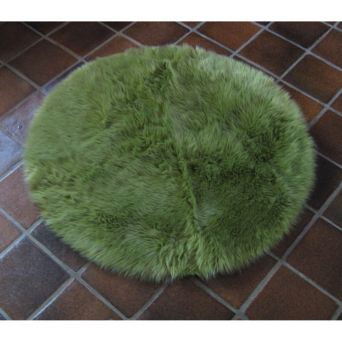 Round Green Faux Fur Rug