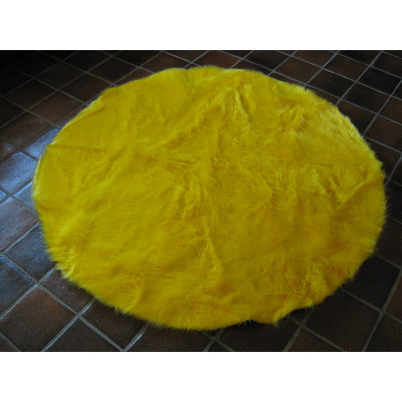 Round Bright Yellow Faux Fur Rug