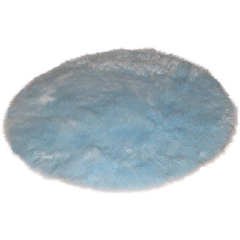 Round Baby Blue Faux Fur Rug