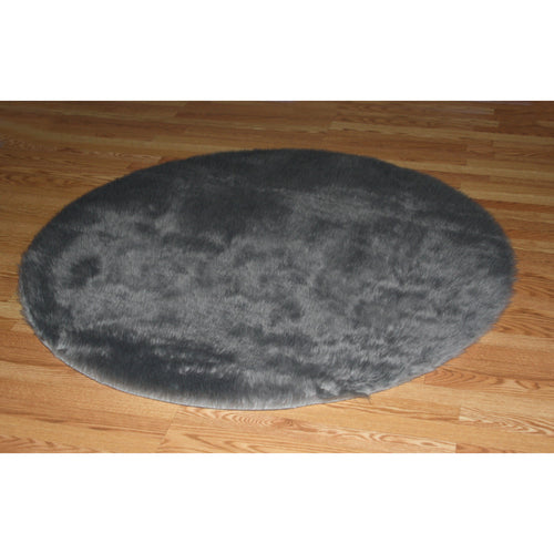 Round Gray Faux Fur Rug
