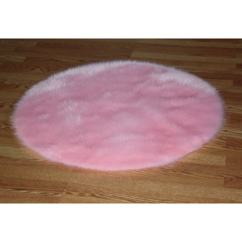 Round Hot Pink Faux Fur Rug