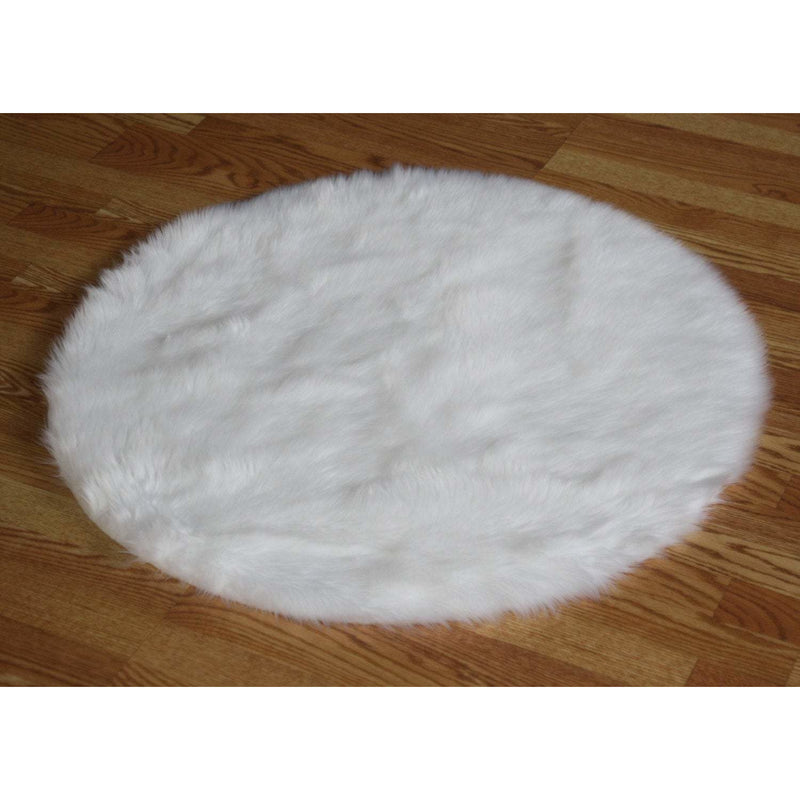Round Pure White Faux Fur Rug